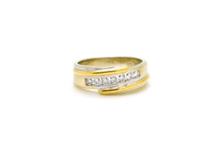 14k White & Yellow Gold 7 Stone Round Diamond Band Ring - .50 ct tw - Size 10.75