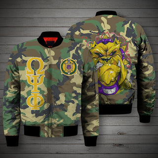 3D ALL OVER OMEGA PHI PSI CAMO BOMBER JACKET