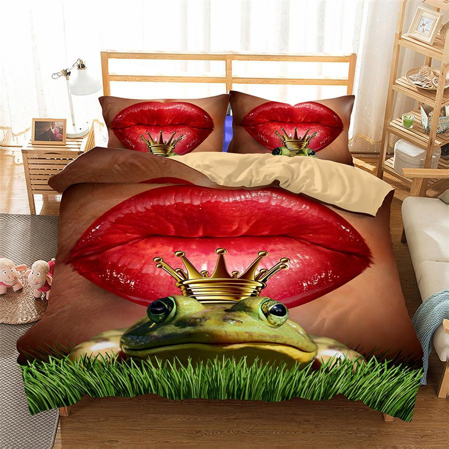 3D Bedding Set Lips Frog