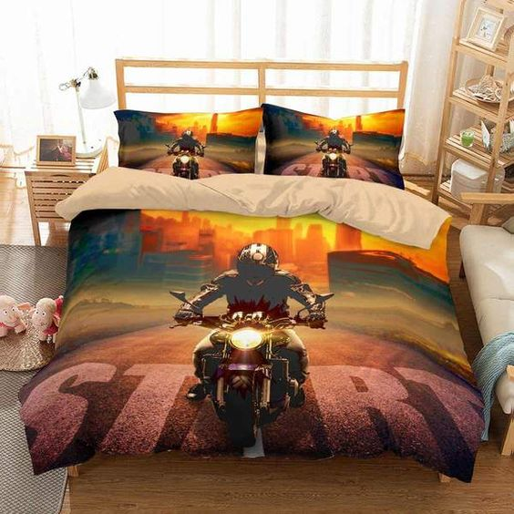 3D Customize Motorcycle Bedding Set Duvet Cover Set Bedroom Set Bedlinen