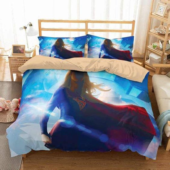 3D Customize Supergirl Bedding Set