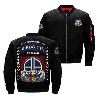 82nd airborne division paratrooper over Print Bomber jacket