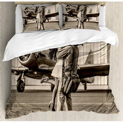Airplane Brunette Woman Hugging a Pilot Historic bedding set