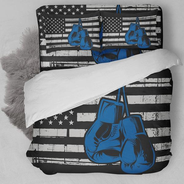 Boxing American Flag Blue Bedding Set