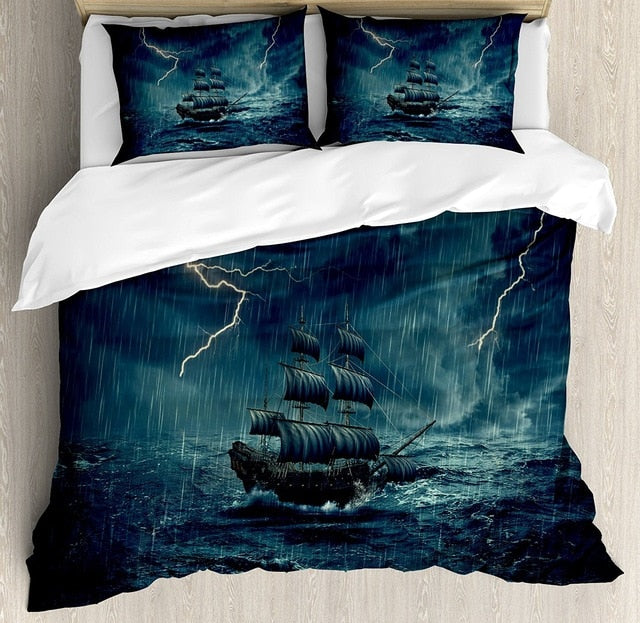 Caribbean boat goes in the storm bedding set