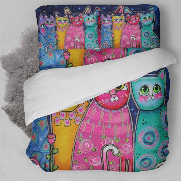 Colorful Cat Painting Bedding Set