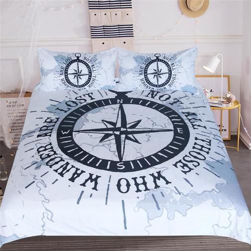 Compass Nautical Map Navy Blue and White Custom Bedding Set