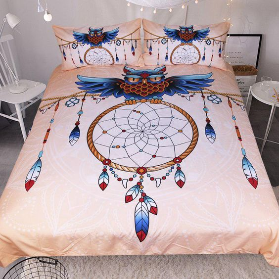 Custom Made Owl Dreamcatcher Feather Print Bedding Set