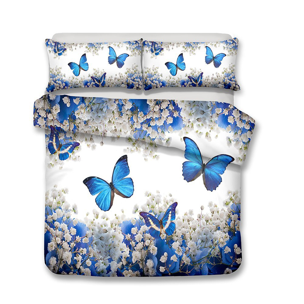 Damara Beautiful Purple Flower and Butterfly Series 3D Bedding Set