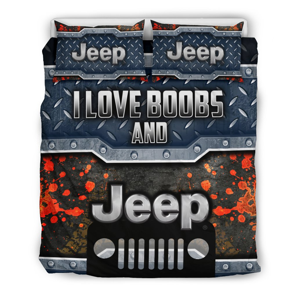 I LOVE BOOBS AND JEEP BEDDING SET