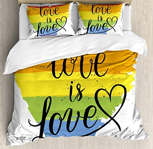 LGBT Gay Lesbian Parade Love Valentines Inspiring Hand Writing Paint Strokes Bedding set