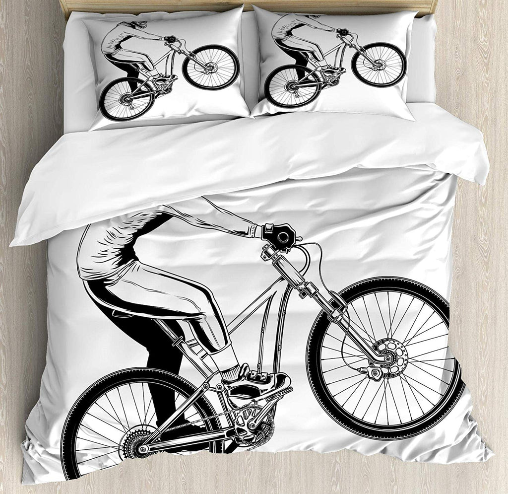 Extreme Bicycle Trick Themed Illustration Rider Monochrome Style Design, Bedding Set