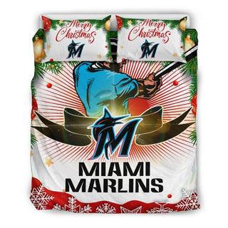 Merry Christmas Miami Marlins Bedding Set