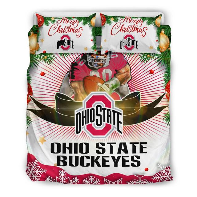 Merry Christmas Ohio State Buckeyes Bedding Set