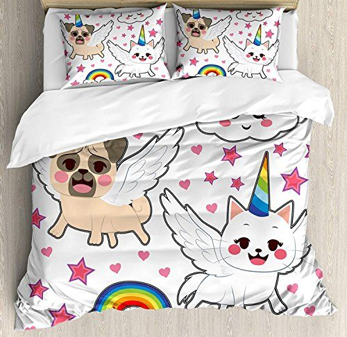 Monroda Bedding Printed Duvet Cover Set, Unicorn Cat bedding set