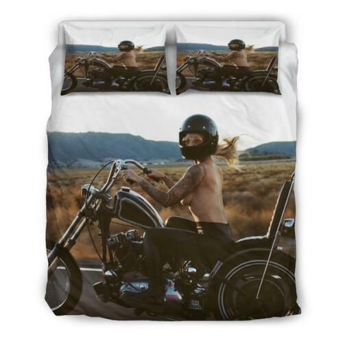 Motorcycle Girl Sexy Duvet Cover Set  Cruiser Motorbike Doona