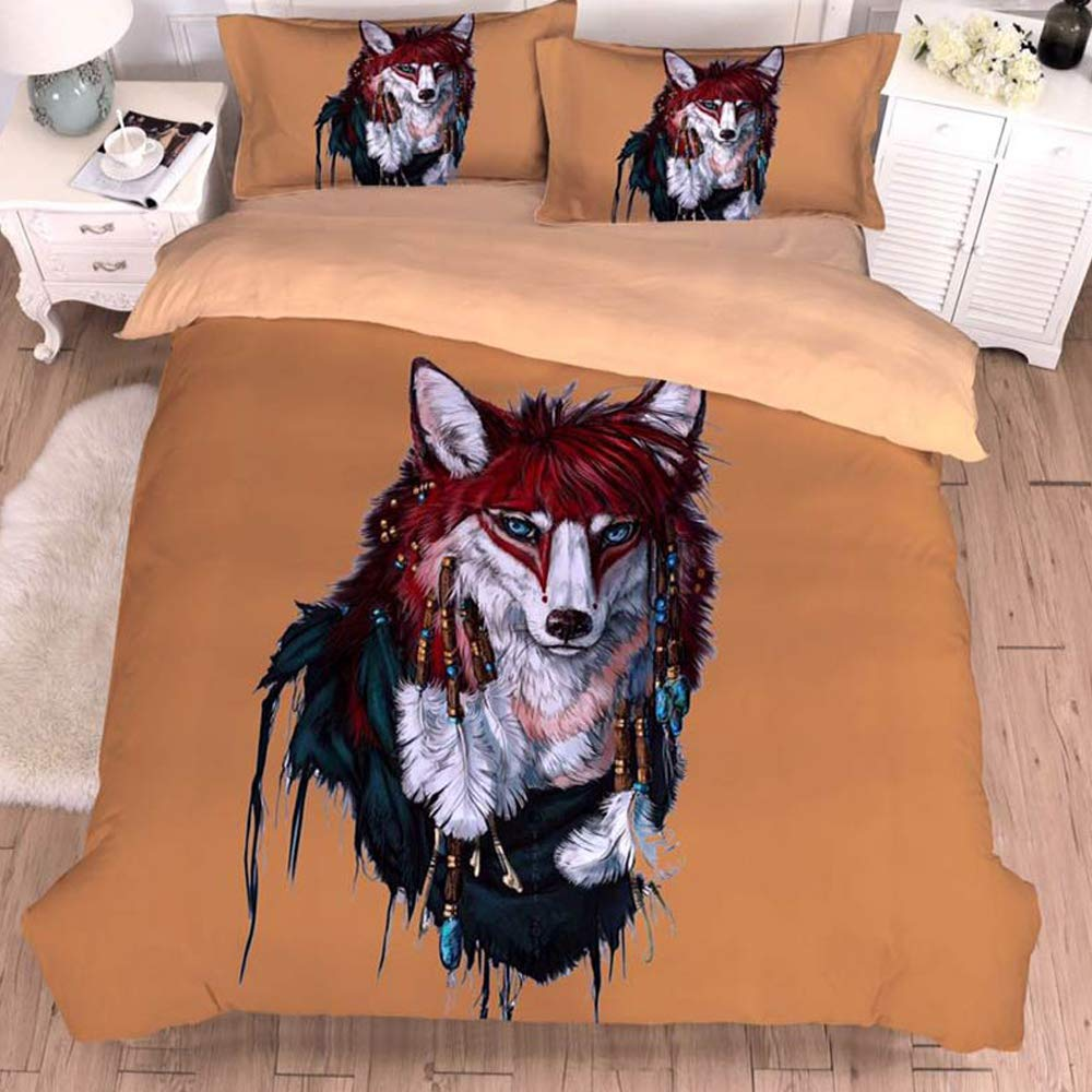 Papa&Mima 3D Wolf Brown Simple Brief Polyester Microfiber  Bedding Set