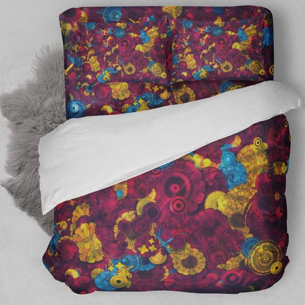 RED BOHEMIAN FLOWER BEDDING SET