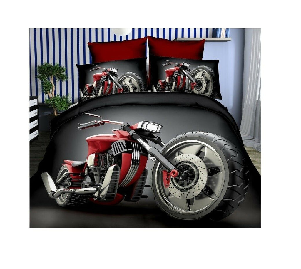 Reg Motorbike 3D Photo Print Duvet Cover Bedding Set ..