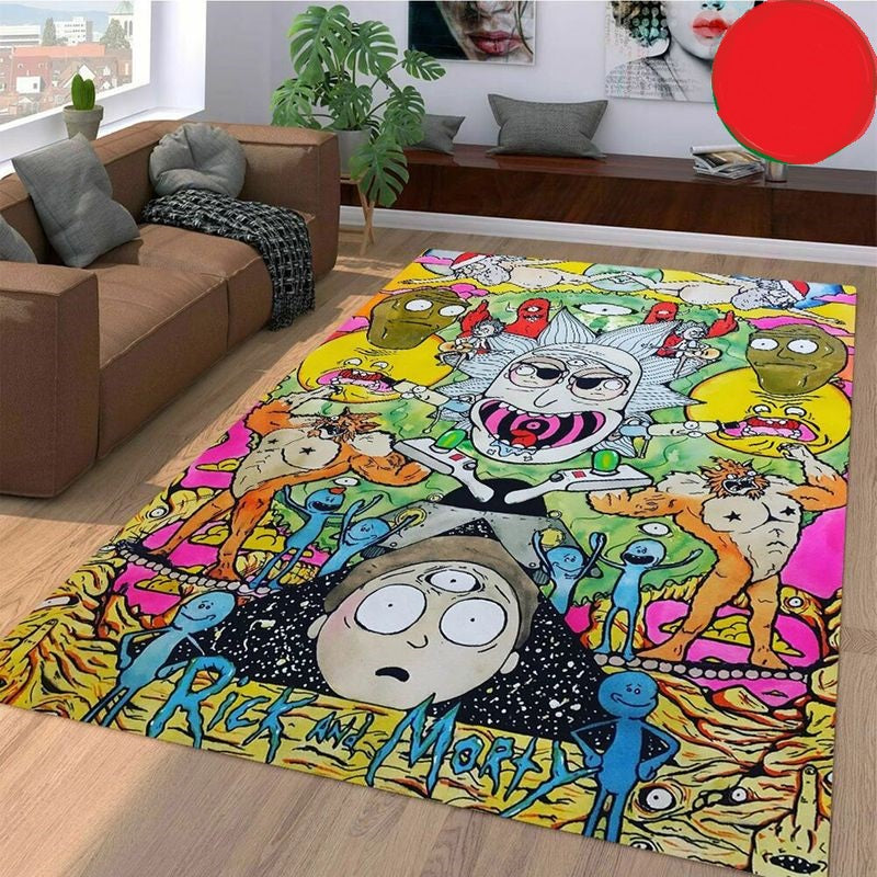 Rick And Morty Chaos Colorful Living Room Carpet Rugs