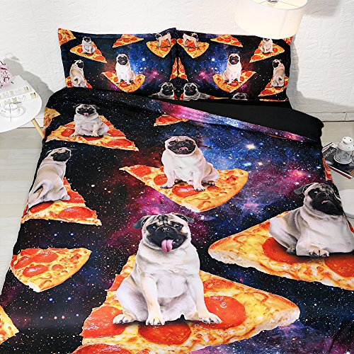 Royal Linen Leisurely Sloth on Pizza and Galaxy Bed Set.