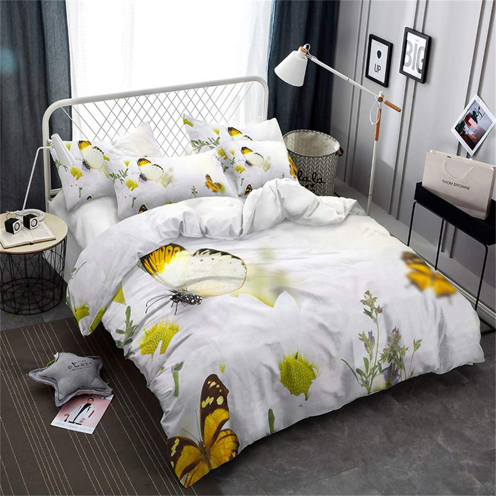 SHECHIYONG 3D Bedding Set Flowers Butterflies ..,