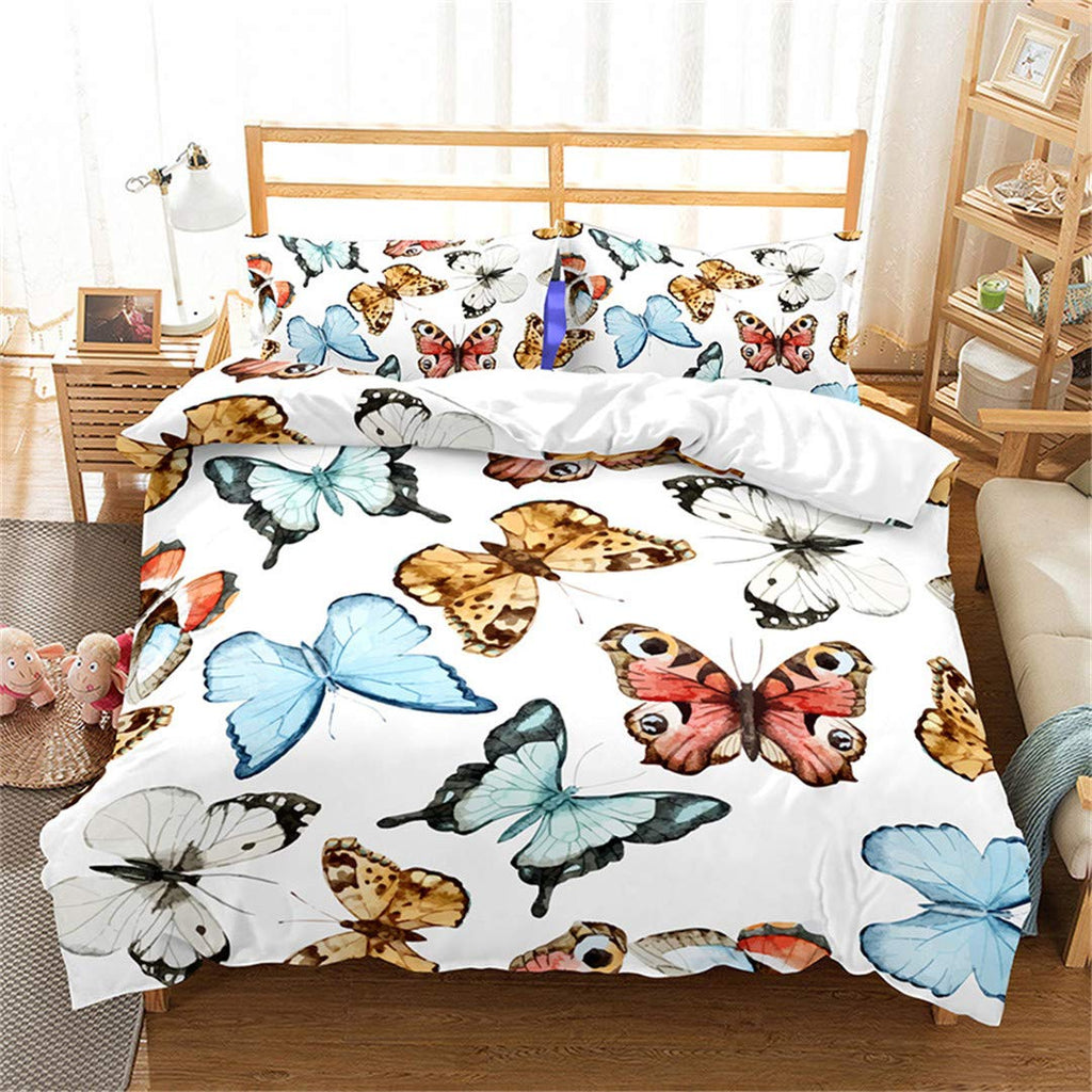 SHECHIYONG 3D Bedding Set Flowers Butterflies