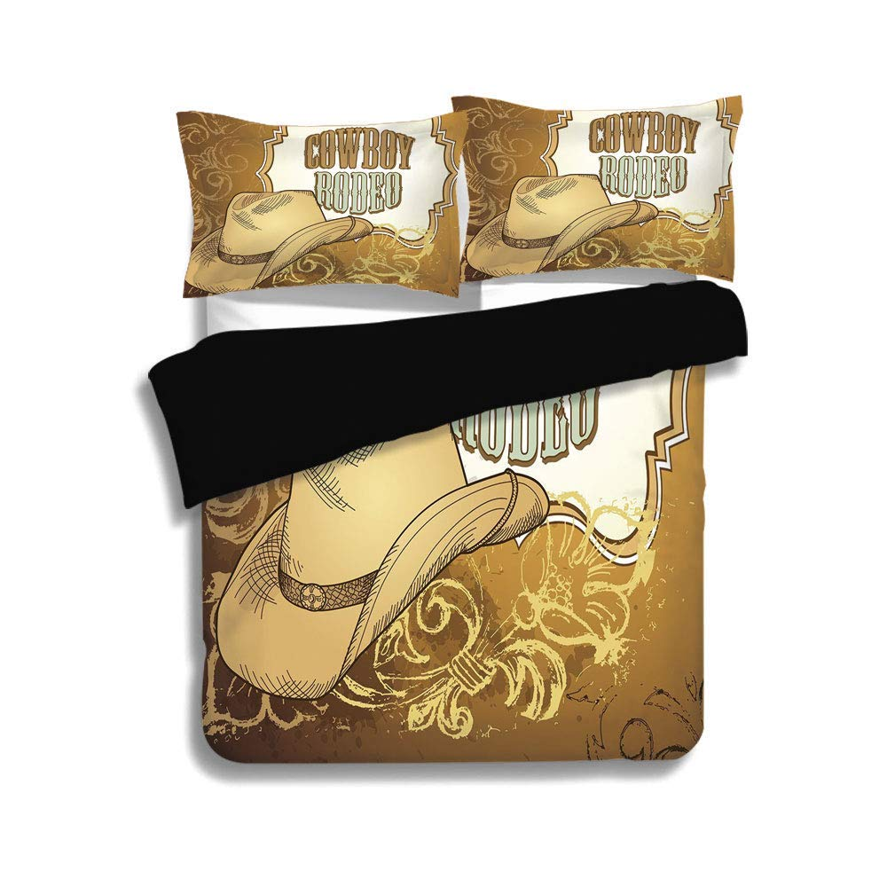 SINOVAL Black Duvet Cover Set Western,CowboyBedding Set