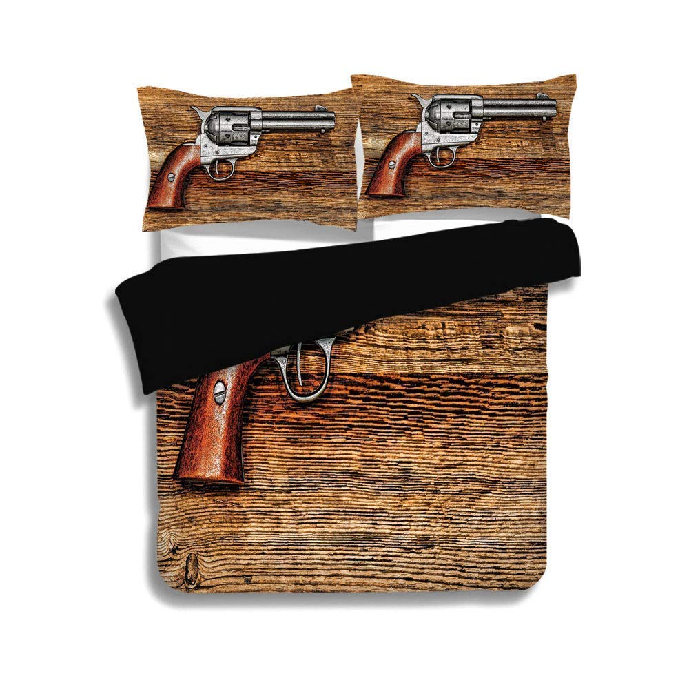 SINOVAL Black ,Western,Old Style Revolver Antique Six Shooter Gun Bedding Set