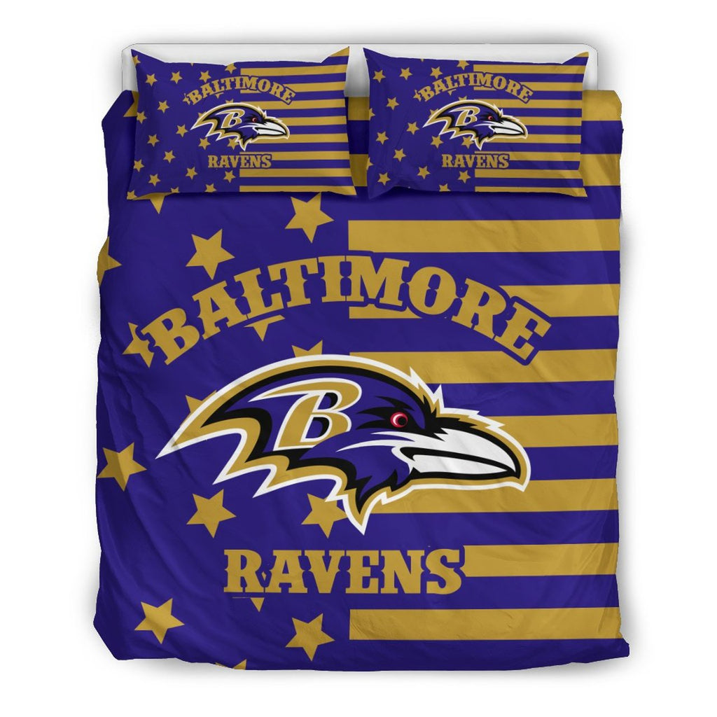 Star Mashup Column Baltimore Ravens 3D Customize Bedding Set