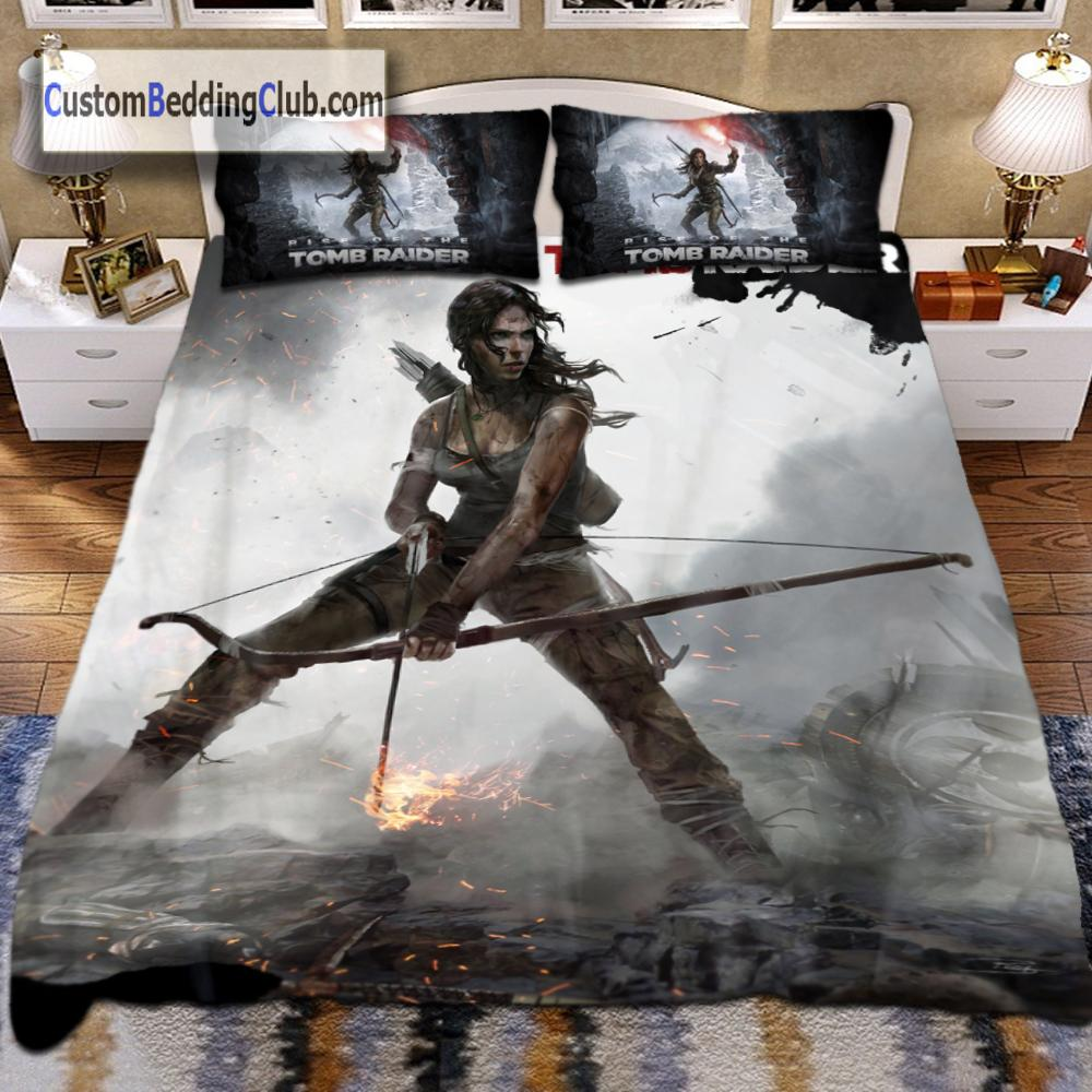 TOMB RAIDER BEDDING SET, BED SHEETS & BLANKET, RISE OF THE TOMB RAIDER