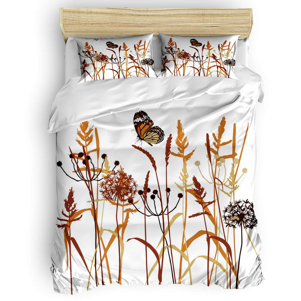 Teamery 4 Piece Simple Dandelion Thistle Butterfly Bedding Set