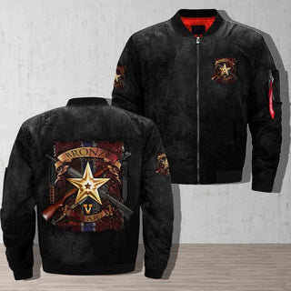 The Bronze Star Medal United States Over Print Bomber Jacket