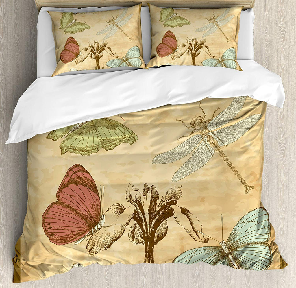Dragonfly Retro Style Bedding Set