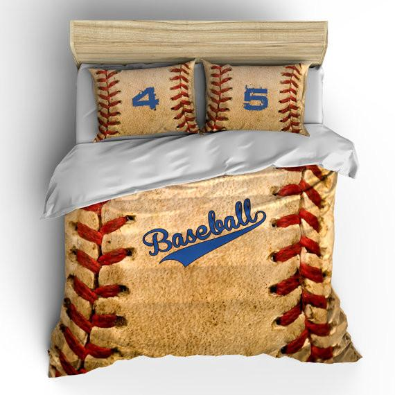 Vintage Baseball Theme Bedding Set, Duvet or Comforter