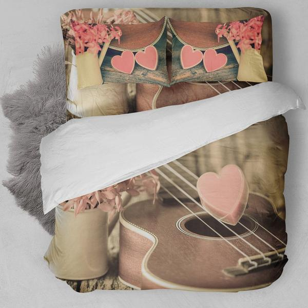 Vintage Heart Guitar Bedding Set