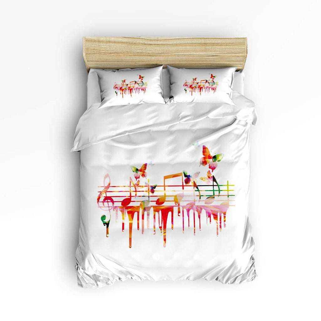 Colorful Musical Note with Butterfly Bedding Set