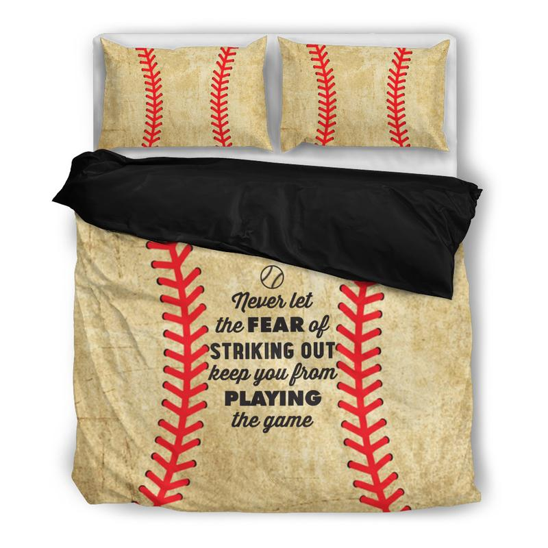 never let the fear baseball bedding set