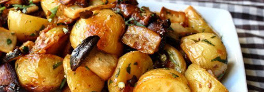 Roasted Olive Oil Wild Mushrooms and Potatoes