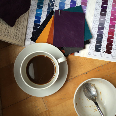 coffee cup and color swatches designer handbag studio
