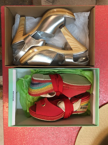 vintage rainbow wedge lace up espadrille shoes and silver 1970's wooden heels at pretty parlor