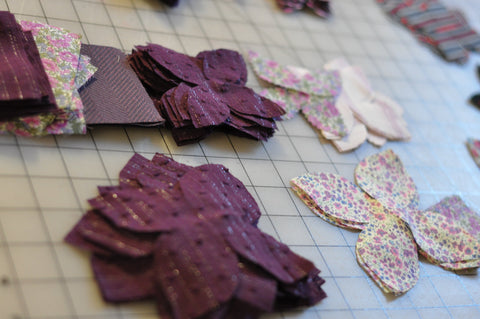 liberty fabric cut into petals for a flower pin