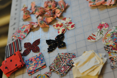 vintage fabric for flower pin brooches