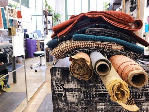 upcycled fabrics in Crystalyn Kae's handbag studio at Industry City