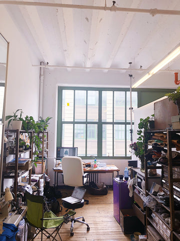 crystalyn kae's handbag studio in industry city has large windows and lots of natural daylight