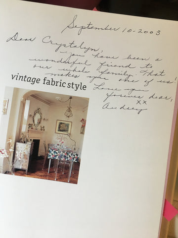 vintage fabric style book with Audrey's note