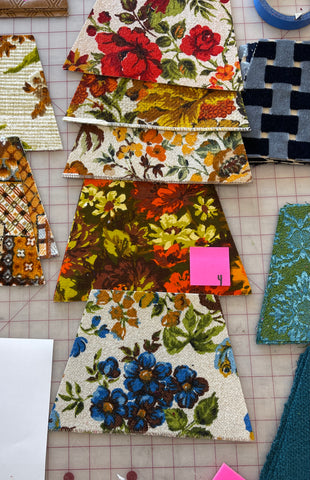 vintage floral upholstery velvet fabric swatches for bags