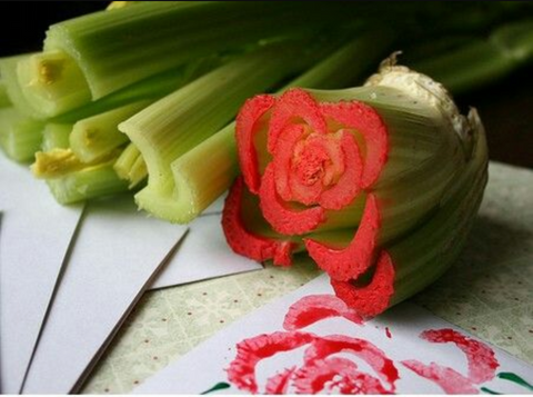 create a stamp from leftover vegetables