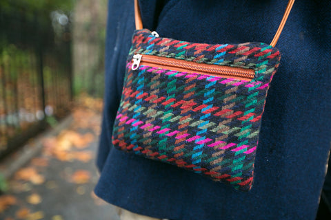 houndstooth tweed cross body bag