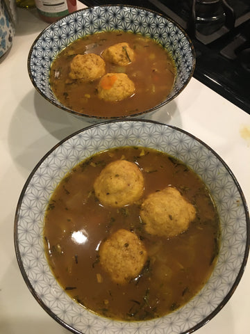 matzo ball soup with vegetable stock home made broth